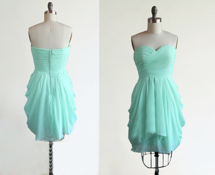 Mint Green Bridesmaid Dress,Strapless Short Sweetheart Chiffon ...