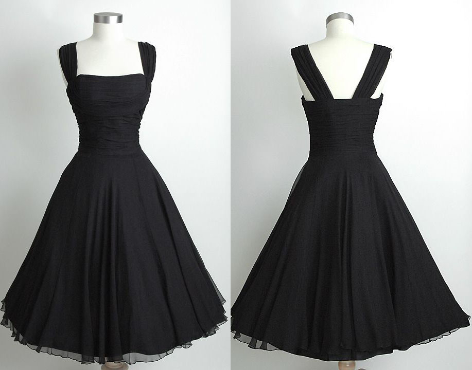 Hot Sale Black Knee Length Vintage 50'S Chiffon Prom Dress